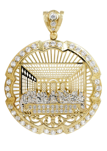 Big Last Supper & Cz 10K Yellow Gold Pendant.  |  34.3 Grams