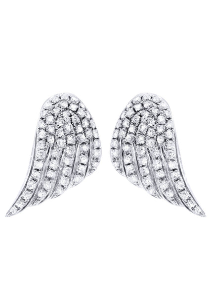 Angel Diamond Earrings For Men |  14K White Gold  | 0.89 Carats