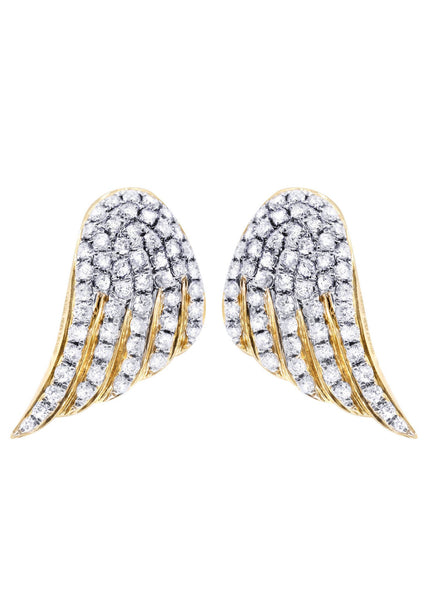 Diamond Earrings For Men |  14K Yellow Gold  | 0.9 Carats
