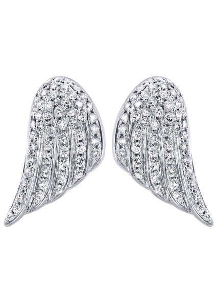 Angel Diamond Earrings For Men |  14K White Gold  | 1.56 Carats