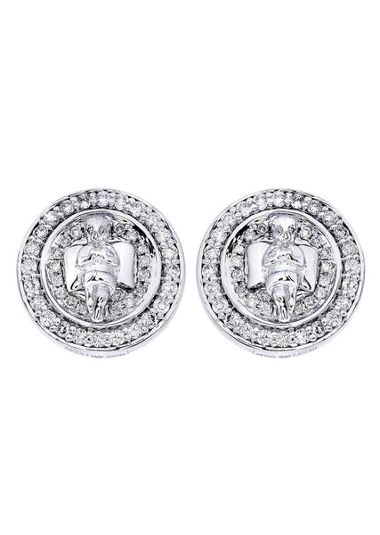 Diamond Earrings For Men |  14K White Gold  | 0.82 Carats