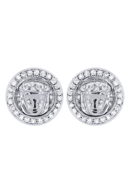 Diamond Earrings For Men |  14K White Gold  | 0.84 Carats