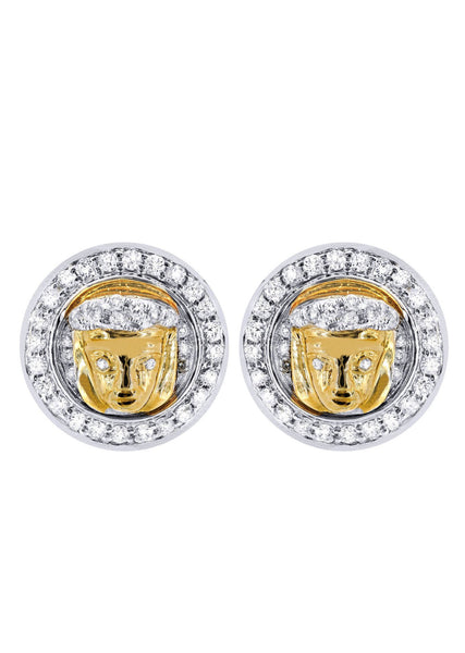 Diamond Earrings For Men |  14K Yellow Gold  | 0.84 Carats
