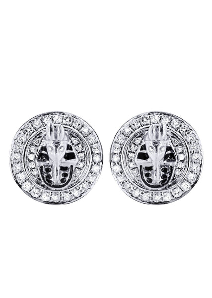 Diamond Earrings For Men |  14K White Gold  | 0.75 Carats