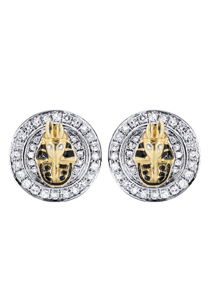 Diamond Earrings For Men |  14K Yellow Gold  | 0.76 Carats