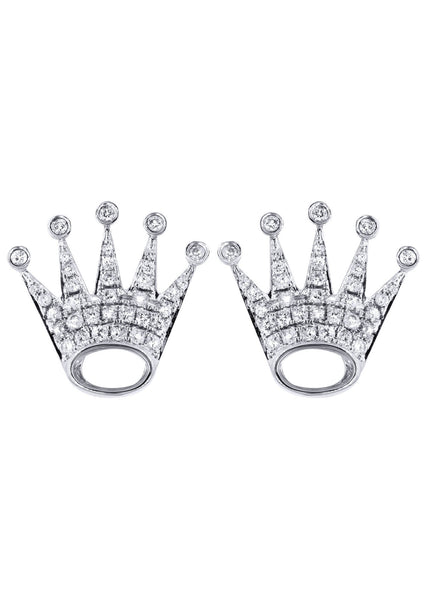 Diamond Earrings For Men |  14K White Gold  | 0.86 Carats