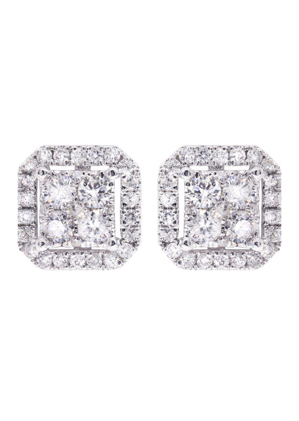 Diamond Stud Earrings For Men | 14K White Gold | 0.86 Carats