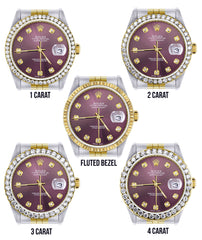 Diamond Rolex Datejust Watch for Men 16233 | 36Mm | Purple Dial | Jubilee Band
