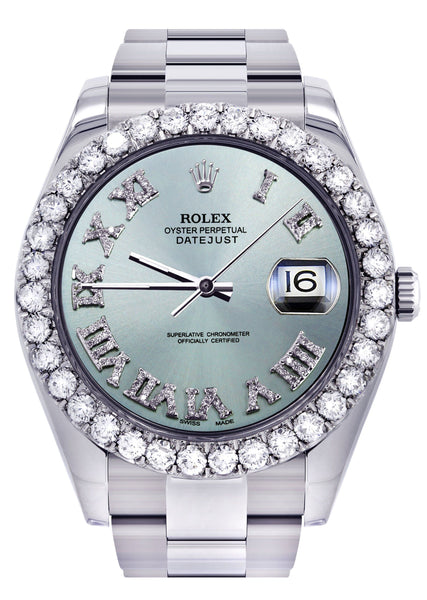 Rolex Datejust II Watch | 41 MM | Custom Light Blue Diamond Roman Dial | Oyster Band