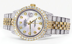 Iced Out Rolex Datejust 36 MM | Two Tone | 10 Carats of Diamonds | Mother of Pearl Diamond Dial