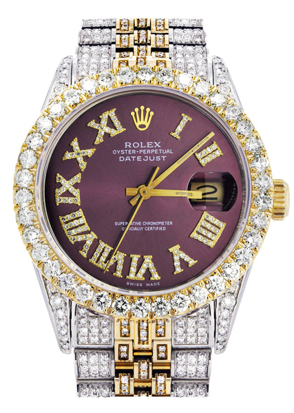 Iced Out Rolex Datejust 36 MM | Two Tone | 10 Carats of Diamonds | Burgandy Roman Diamond Dial