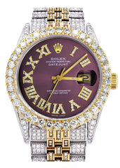 Iced Out Rolex Datejust 36 MM | Two Tone | 10 Carats of Diamonds | Burgandy Roman Diamond Dial CUSTOM ROLEX FROST NYC