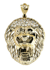 Big Lion & Cz 10K Yellow Gold Pendant. | 17.9 Grams