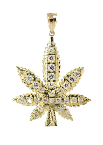 Big Pot Leaf & Cz 10K Yellow Gold Pendant. | 13.5 Grams