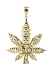 Big Marijuana Leaf & Cz 10K Yellow Gold Pendant. | 13.5 Grams