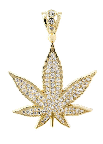 Big Marijuana Leaf & Cz 10K Yellow Gold Pendant. | 15.4 Grams