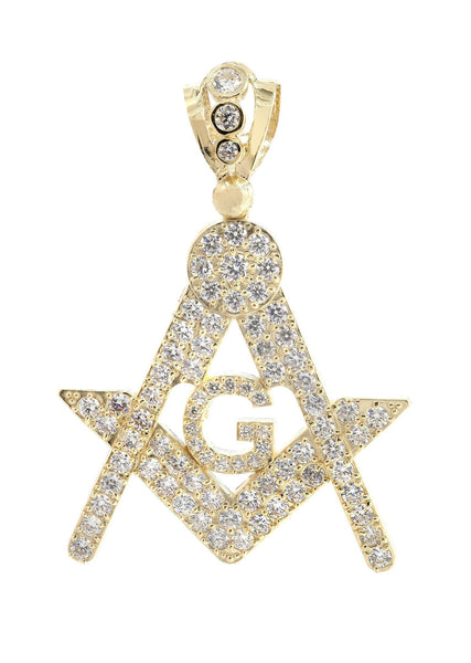 Big Mason & Cz 10K Yellow Gold Pendant. | 11.4 Grams
