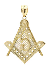 Big Mason & Cz 10K Yellow Gold Pendant. | 9.4 Grams
