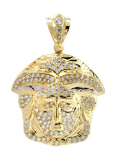 Big Medusa & Cz 10K Yellow Gold Pendant. | 15.7 Grams
