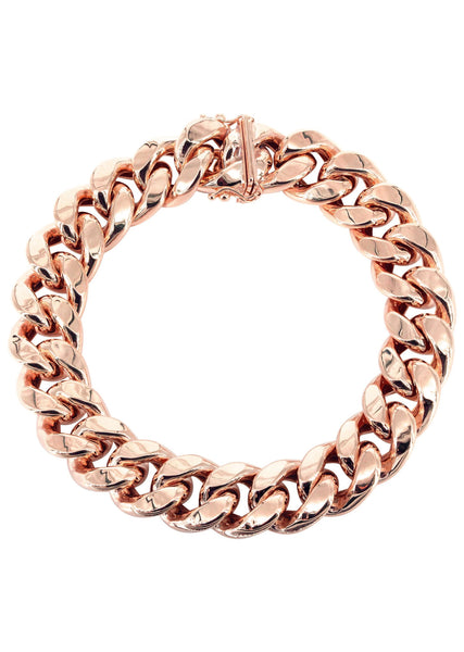 14K Rose Gold Bracelet Hollow Miami Cuban Link
