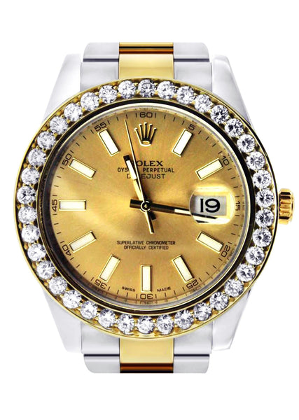 Diamond Rolex Datejust 2 | 18K Yellow Gold & Stainless Steel | Champagne Stick Dial | 41 Mm