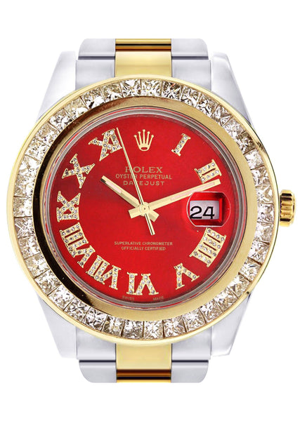 Diamond Rolex Datejust 2 | 18K Yellow Gold and Stainless Steel | Red Diamond Roman Numeral Dial | 41 Mm | 7.75 Carats