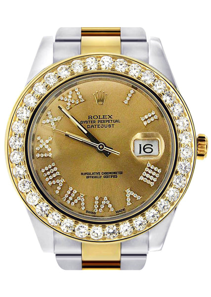 Diamond Rolex Datejust 2 | 18K Yellow Gold & Stainless Steel | Champagne Diamond Roman Dial | 41 MM