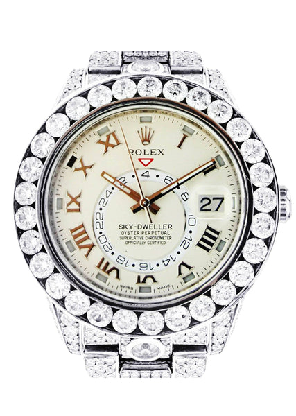 Diamond Rolex Sky Dweller | 18K White Gold | 42 Mm