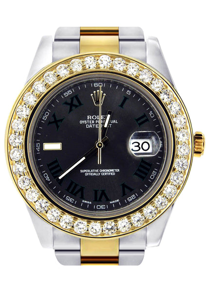 Diamond Rolex Datejust 2 | 18K Yellow Gold & Stainless Steel | Green Slate Dial  41 MM