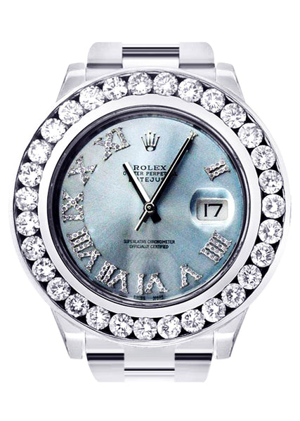Diamond Rolex Datejust 2 | Stainless Steel | Custom Blue Diamond Roman Numeral Dial | 41 MM