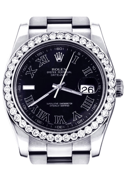 Diamond Rolex Datejust 2 | Stainless Steel | Black Roman Numeral Dial | 41 MM