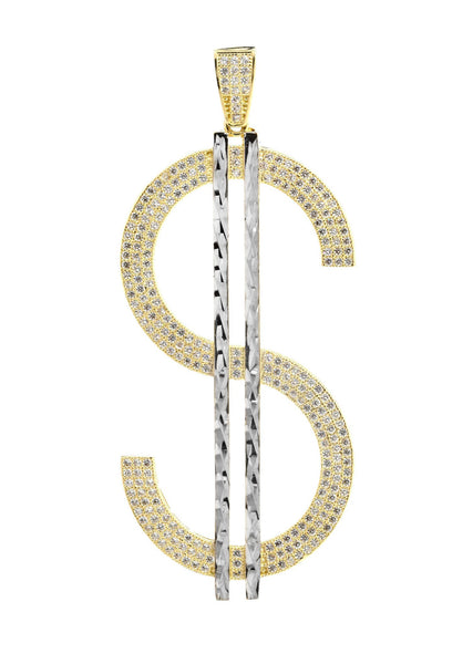 Big Dollar & Cz 10K Yellow Gold Pendant. | 10.5 Grams
