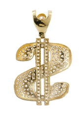 Big Dollar & Cz 10K Yellow Gold Pendant. | 21.3 Grams