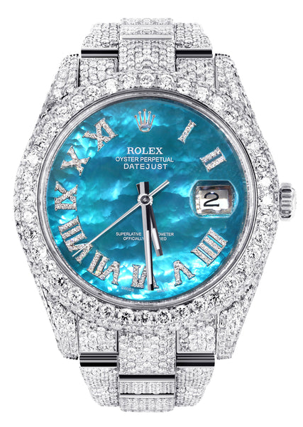Diamond Iced Out Rolex Datejust 41 | 25 Carats Of Diamonds | Aquamarine Mother of Pearl Dial | Two Row | Oyster Band