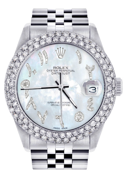 Mens Rolex Datejust Watch 16200 | 36Mm | Mother of Pearl Arabic Diamond Dial | Two Row 4.25 Carat Bezel | Jubilee Band