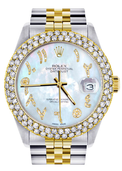 Diamond Gold Rolex Watch For Men 16233 | 36Mm | Mother of Pearl Arabic Diamond Dial | Two Row 4.25 Carat Bezel | Jubilee Band