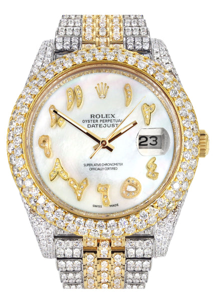 Diamond Iced Out Rolex Datejust 41 | 25 Carats Of Diamonds | Custom Mother of Pearl Arabic Numeral Diamond Dial | Two Tone | Two Row | Jubilee Band