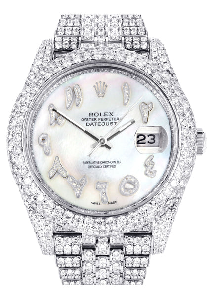 Diamond Iced Out Rolex Datejust 41 | 25 Carats Of Diamonds | Custom Mother of Pearl Arabic Numeral Diamond Dial | Two Row | Jubilee Band