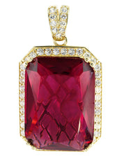 Medium Ruby & Cz 10K Yellow Gold Pendant.  |  12.2 Grams