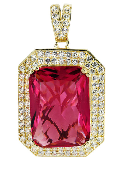 Medium Ruby & Cz 10K Yellow Gold Pendant.  |  14 Grams