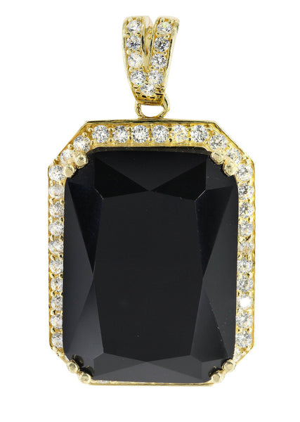 Medium Black Spinnel & Cz 10K Yellow Gold Pendant.  |  11.4 Grams