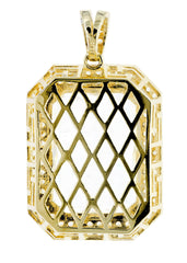 Medium Rock Crystal & Cz 10K Yellow Gold Pendant.  |  13.1 Grams