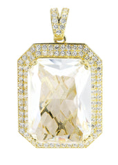 Medium Rock Crystal & Cz 10K Yellow Gold Pendant. | 13.1 Grams MEN'S PENDANTS FROST NYC