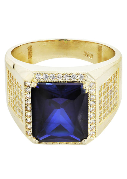 Sapphire & Cz 10K Yellow Gold Mens Ring. | 9.3 Grams