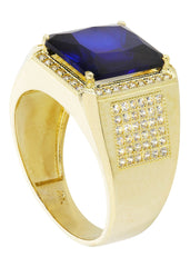 Sapphire & Cz 10K Yellow Gold Mens Ring. | 9.3 Grams MEN'S RINGS FROST NYC