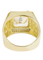 Rock Crystal & Cz 10K Yellow Gold Mens Ring. | 11.8 Grams
