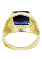 Sapphire & Cz 10K Yellow Gold Mens Ring. | 9 Grams