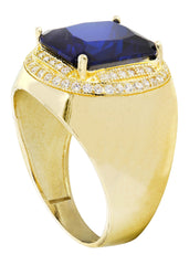 Sapphire & Cz 10K Yellow Gold Mens Ring. | 9 Grams MEN'S RINGS FROST NYC