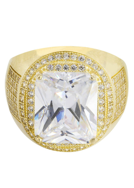 Rock Crystal & Cz 10K Yellow Gold Mens Ring. | 9.4 Grams