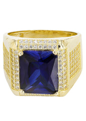 Sapphire & Cz 10K Yellow Gold Mens Ring. | 9.6 Grams